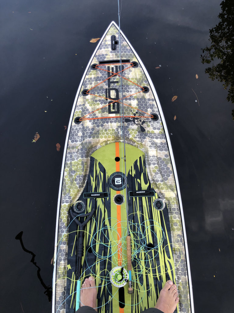 Fly fishing on the stand up paddle board