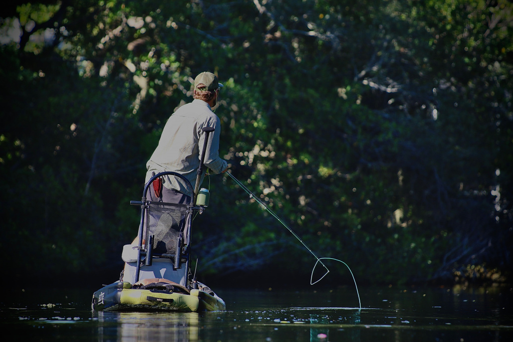 Fly fishing off the stand up paddle board